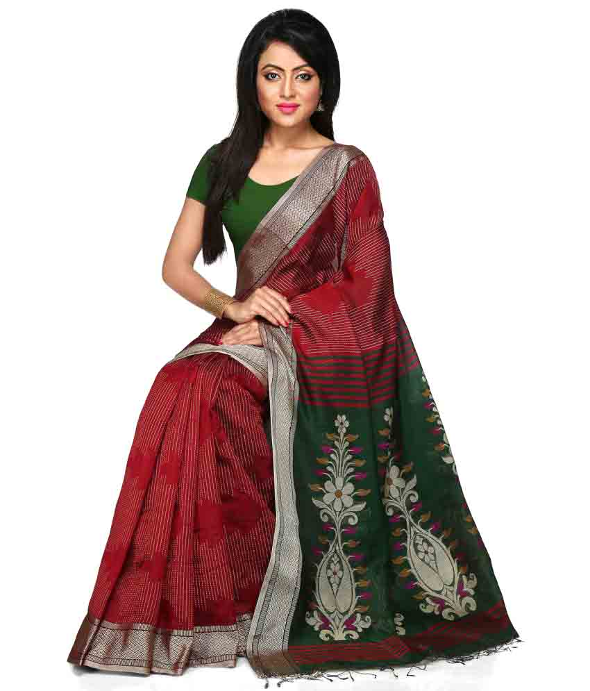 Handloom-Tant-Saree-Maroon-Cotton-SDL687859478-2-24272